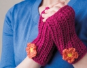 Trendy Fingerless Mitts with Impatiens