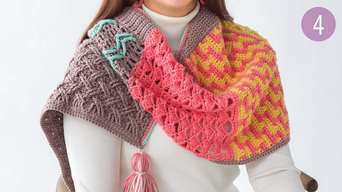 Crochet Skill Builders: Chic Shawl by Marly Bird: Shadow Shell Stitch Part 4