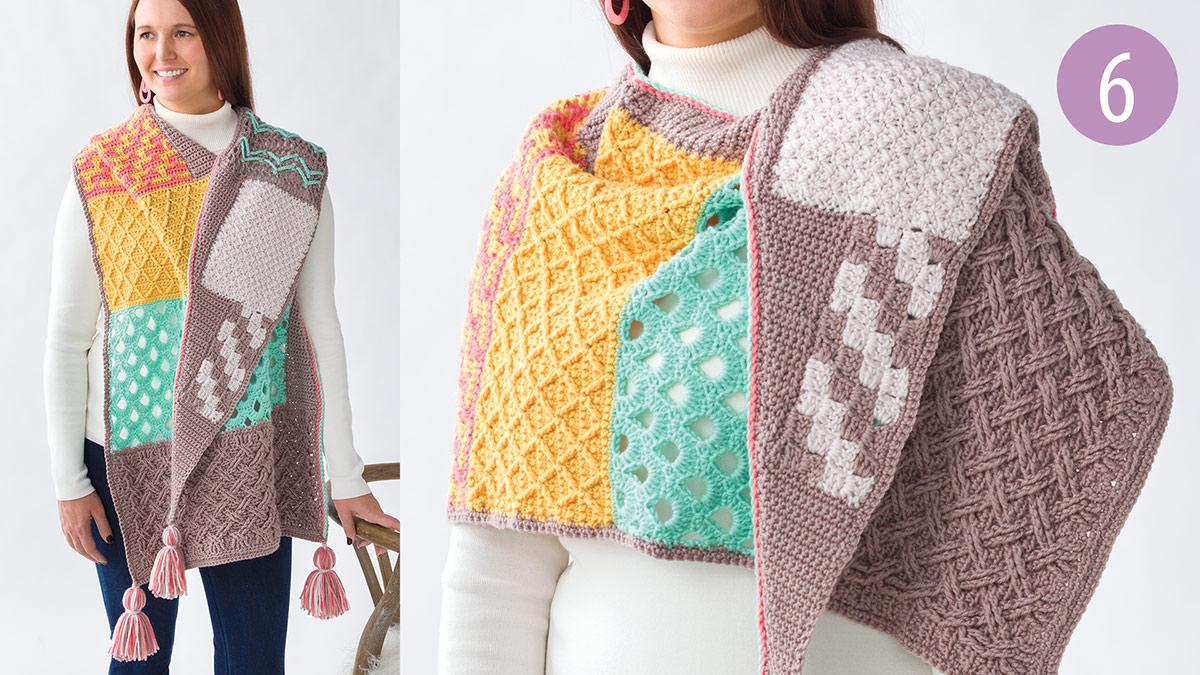 Crochet Skill Builders: Chic Shawl by Marly Bird: Textured Lattice Part 6