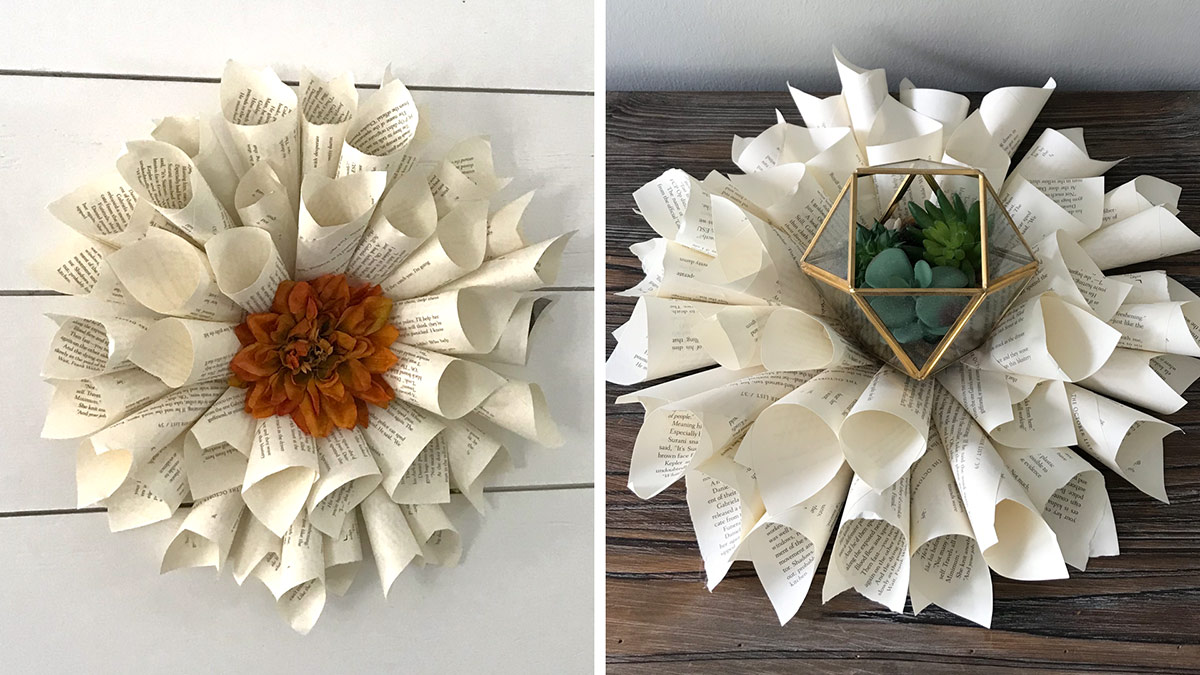 Creative Living: Elegant Book Page Wreath