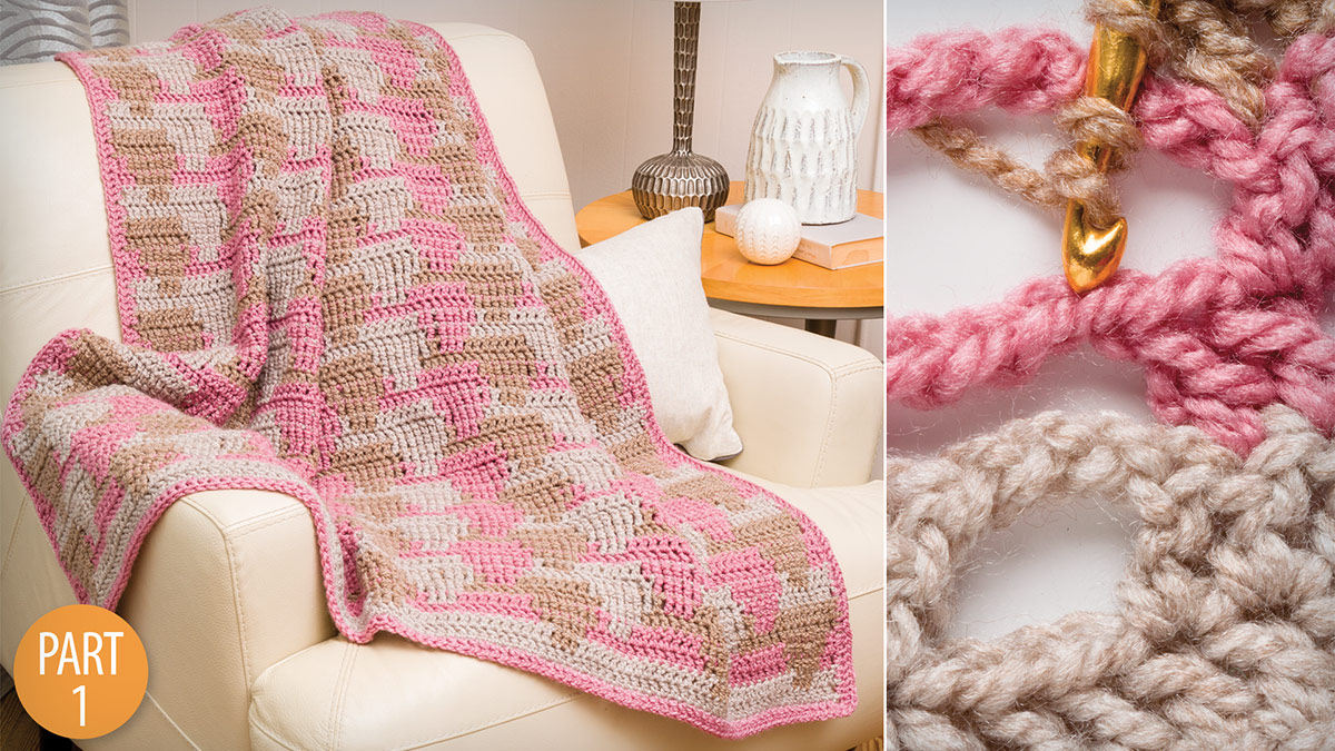 Crochet Skill Builders: Waterfall Crochet 3-Color Throw Part 1