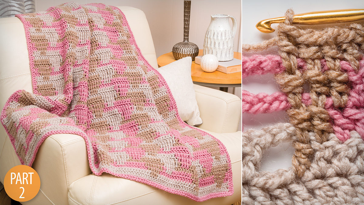 Crochet Skill Builders: Waterfall Crochet 3-Color Throw Part 2