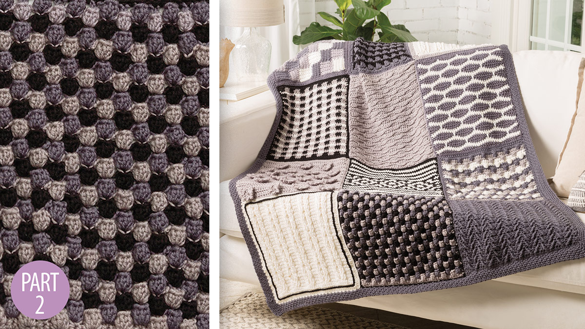 Chic Throw by Marly Bird: Popcorn Stripes Block 2 video