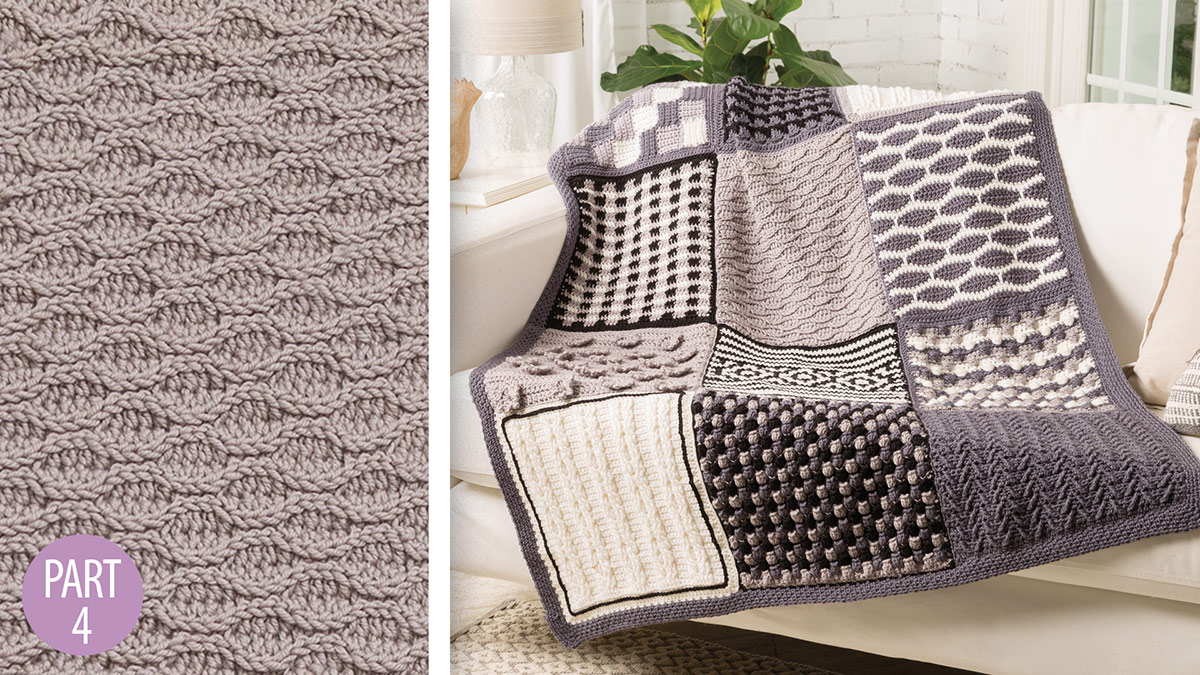 Crochet Skill Builders: Chic Throw by Marly Bird: Almond Ridges Block 4