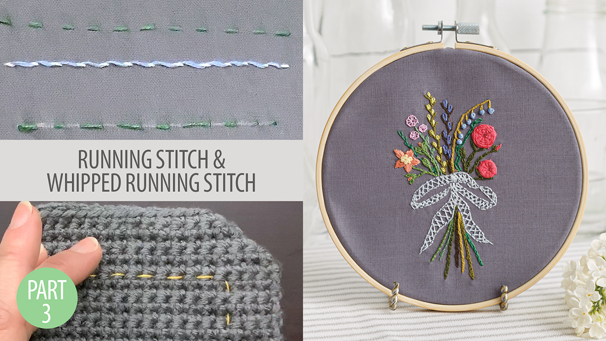 Quilt & Sew Tips: Learn to Embroider Part 3: Running Stitch