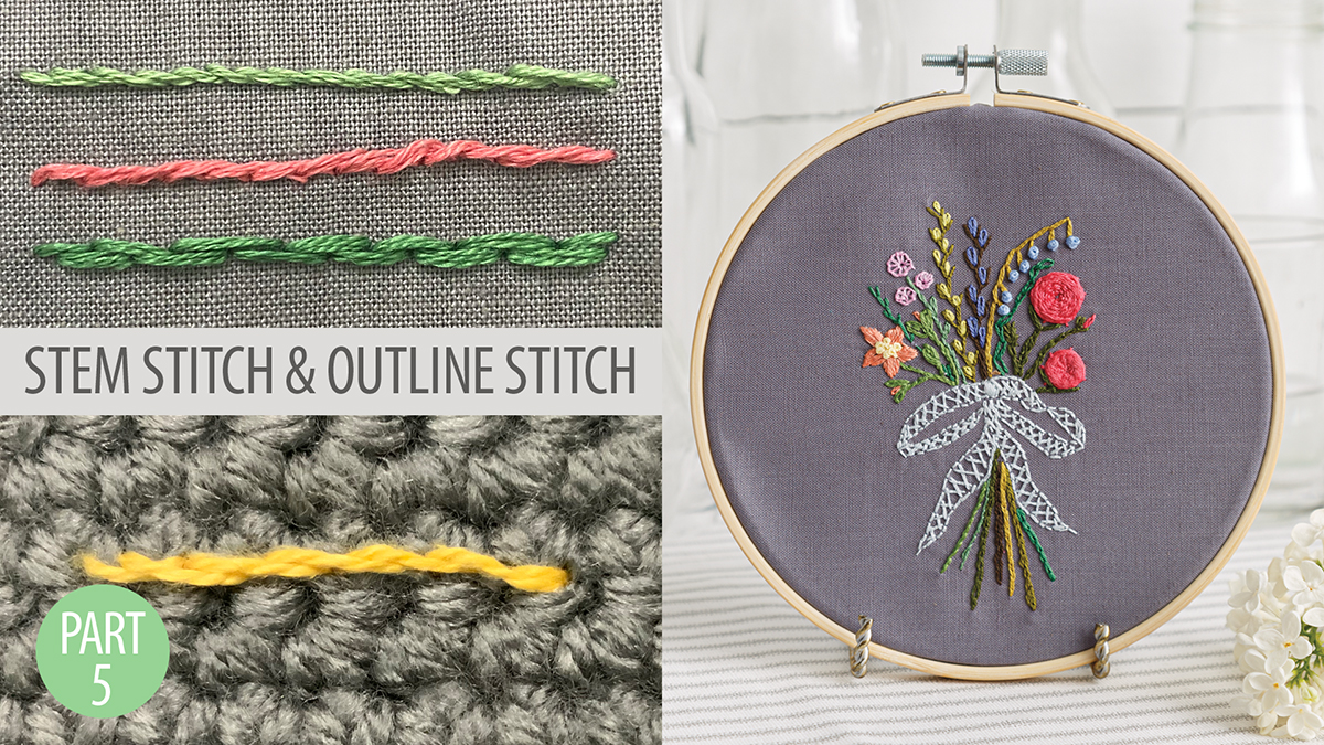 Quilt & Sew Tips: Learn to Embroider Part 5: Stem Stitch