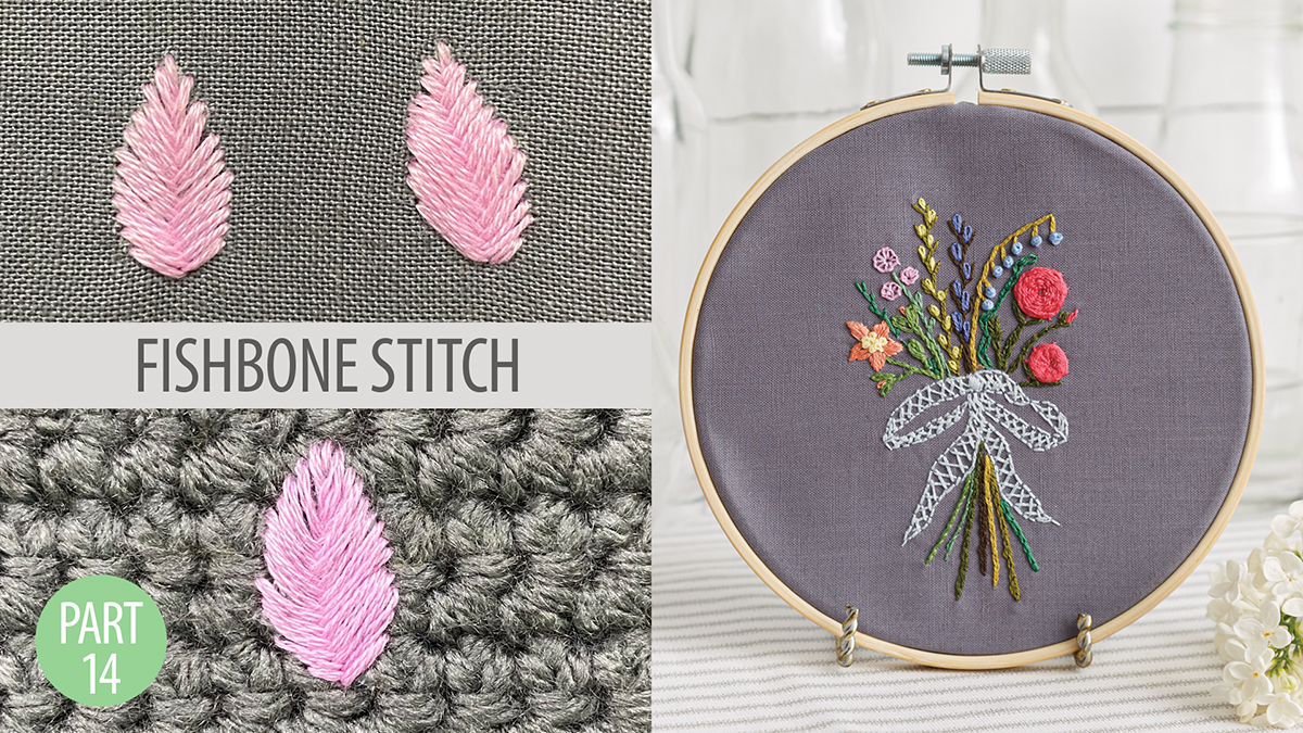 Quilt & Sew Tips: Learn to Embroider Part 14: Fishbone Stitch