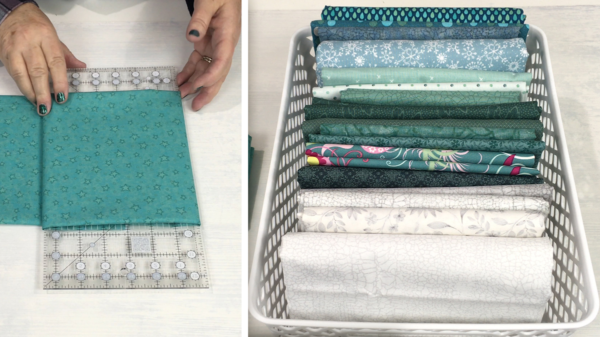 How to Fold Stash Fabric for Storage Tubs video