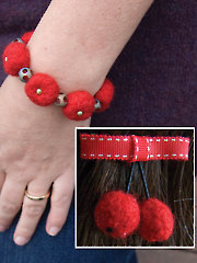 Cherry Barrette and Bracelet