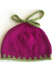 Magenta Hat with 2 color rib