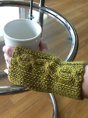 Cabled and Ribbed Fingerless Gloves