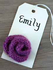 Party Gift Tag Knitted Flowers
