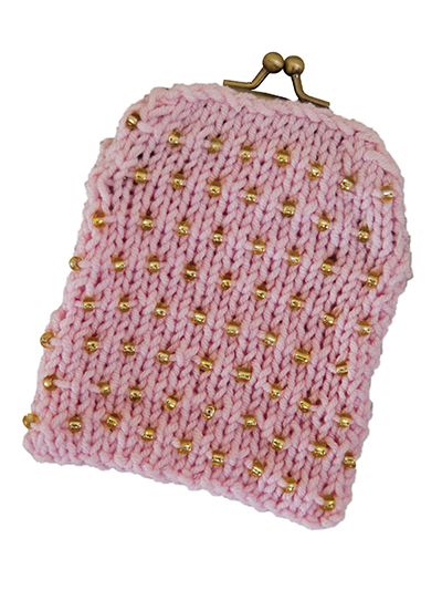 Knit Beaded Coin Purse
