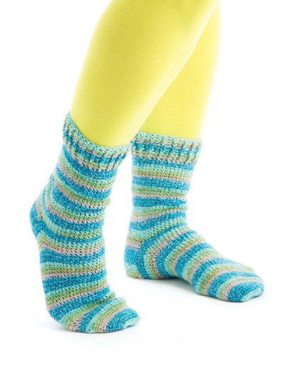 Self-Striping Cuff-Down Socks