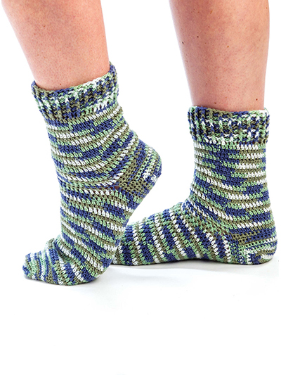 Self-Striping Toe-Up Socks