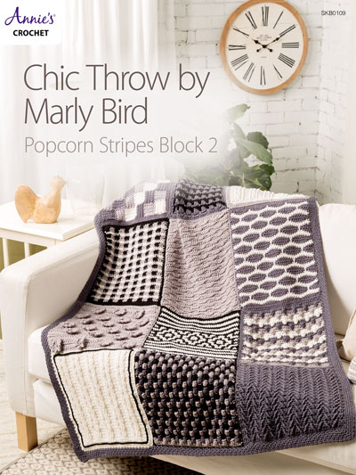 Chic Throw by Marly Bird: Popcorn Stripes Block 2