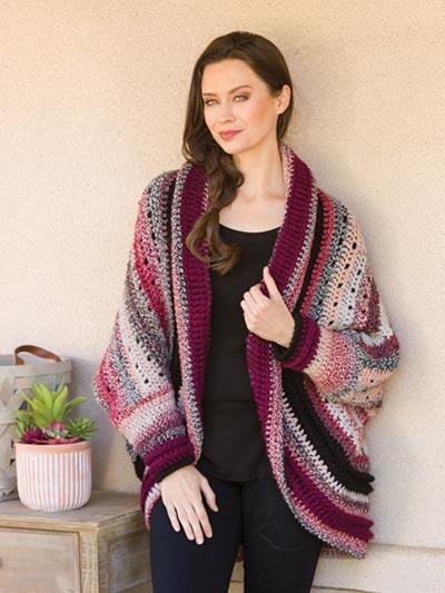 Cabernet Crochet Shrug