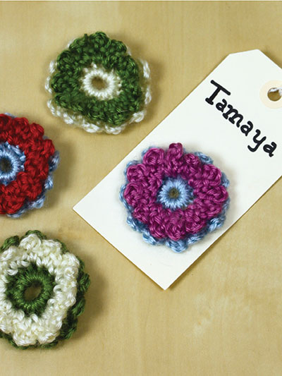 Party Gift Tag Crocheted Flowers