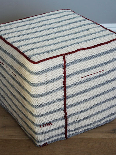 Garter Stripe Ottoman Cover