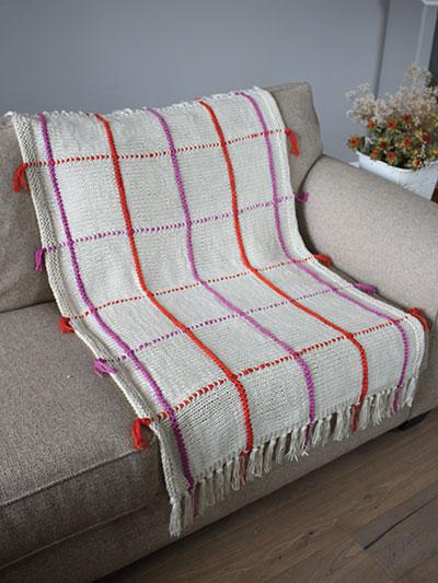 Knit Windowpane Afghan
