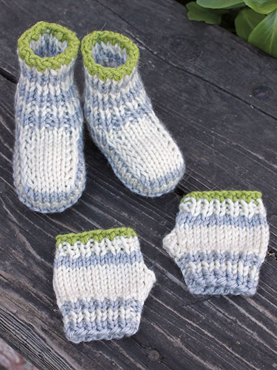 Fingers & Toes Knit Booties & Fingerless Mitts