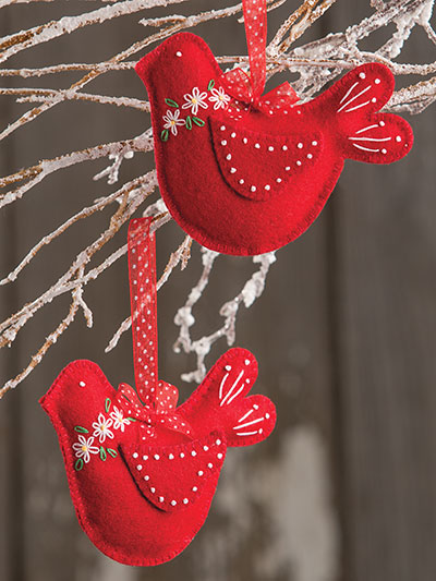 Winter Birds Embroidered Ornaments