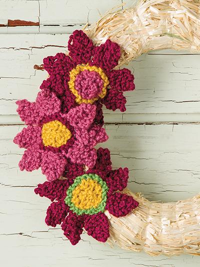Knit Flower Wreath