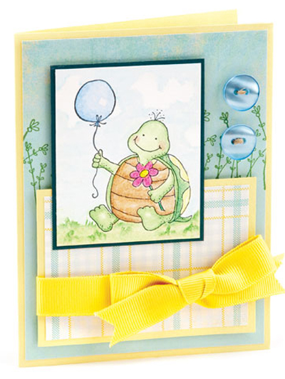 Happy Turtle With Balloon card