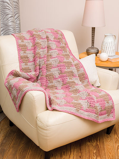 Waterfall Crochet 3-Color Throw