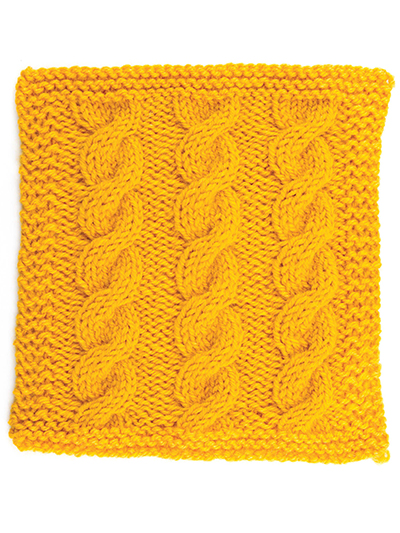 One-Color Cable Stitch Square