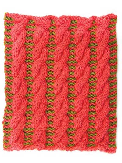 Two-Color Cable Stitch Square