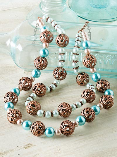 Dual Strand Copper & Pearl Necklace