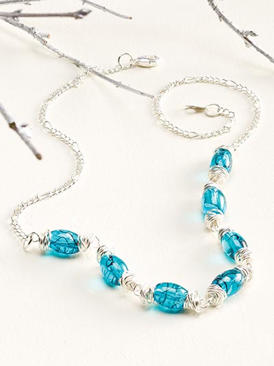 Messy Wire-Wrapped Bead Cap Necklace