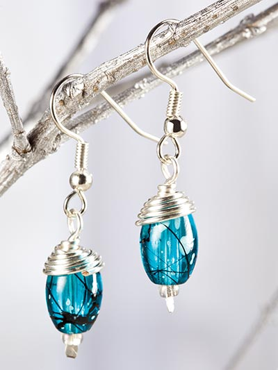 Wire-Wrapped Bead Cap Earrings
