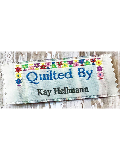 """Quilted By"" Precut Personalized Woven Label - 20/pkg."