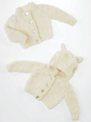 Hoodie and Round Neck Cardigan Knit Pattern