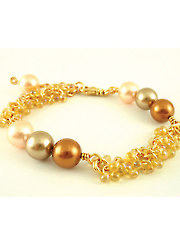Pearls and Shaggy Bracelet Kit - Rainbow Light Amber/Gold