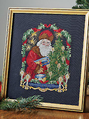 Candlelight Santa Cross Stitch Pattern