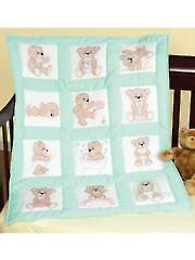 "Teddy Bear 9"" Prestamped Nursery Quilt Blocks"