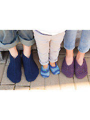 ANNIE'S SIGNATURE DESIGNS: Vintage Family Trio Knit Slippers