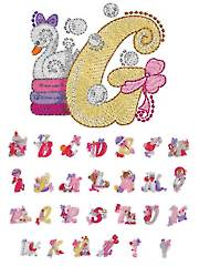 Mylar Swirly Baby Girl Alphabet Embroidery CD