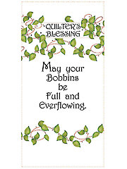 "Quilter's Blessing May Your Bobbins Art Panel - 6"" x 12"""