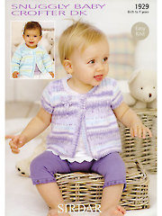 Sirdar Snuggly Baby Crofter DK 1929: Short & Long Sleeve Cardigans Knit Patterns