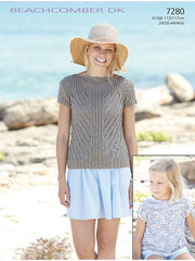 Sirdar Beachcomber DK 7280: Slash Neck Top Knit Pattern