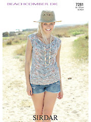 Sirdar Beachcomber DK 7281: V-Neck Top Knit Pattern