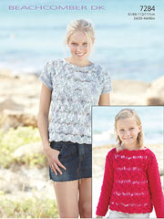 Sirdar Beachcomber DK 7284: Short & Long Sleeve Top Knit Pattern