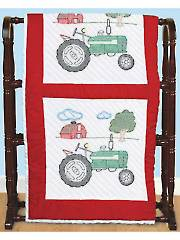 "Tractor 18"" Prestamped White Quilt Blocks"