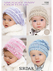 Sirdar Snuggly Baby Crofter DK 1930: Baby Hats Knit Patterns