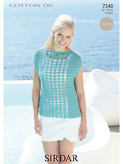Sirdar Cotton DK Slash Neck Top Crochet Pattern