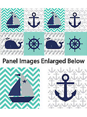 "Nautical Treasure Block Repeat Panel - 42"" x 24"""